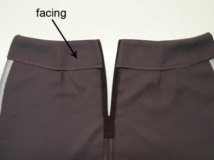 Waist facing - skirt without a lining