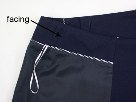 Waist facing - skirt with a lining