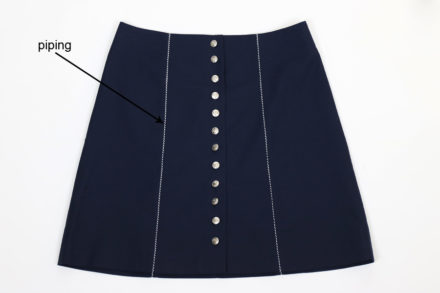 Skirt with piping, how to sew piping