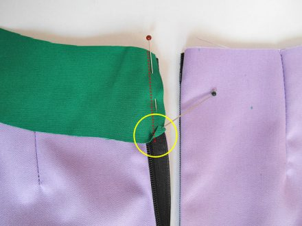 Sewing facings with an invisible zipper